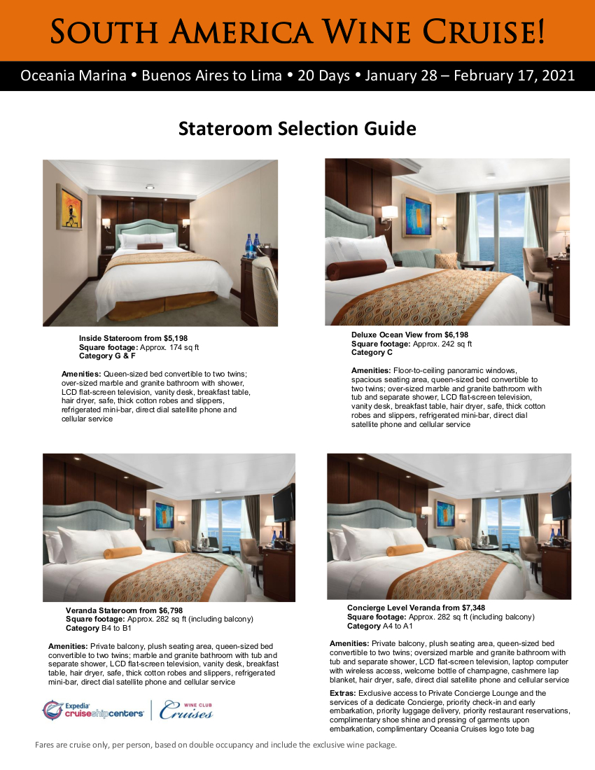 South America 2021 Oceania Stateroom Guide 1