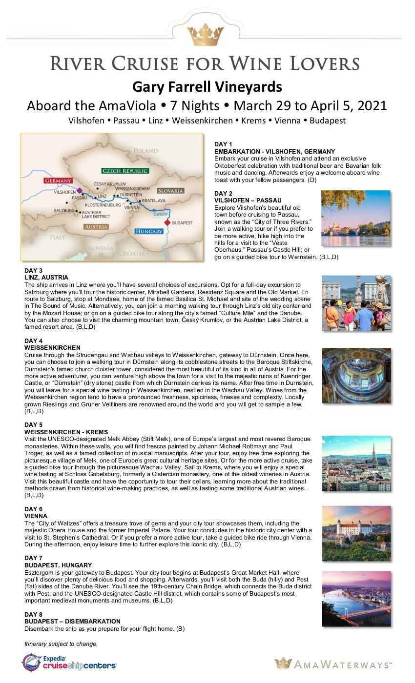 Itinerary - Gary Farrell 2021 Danube
