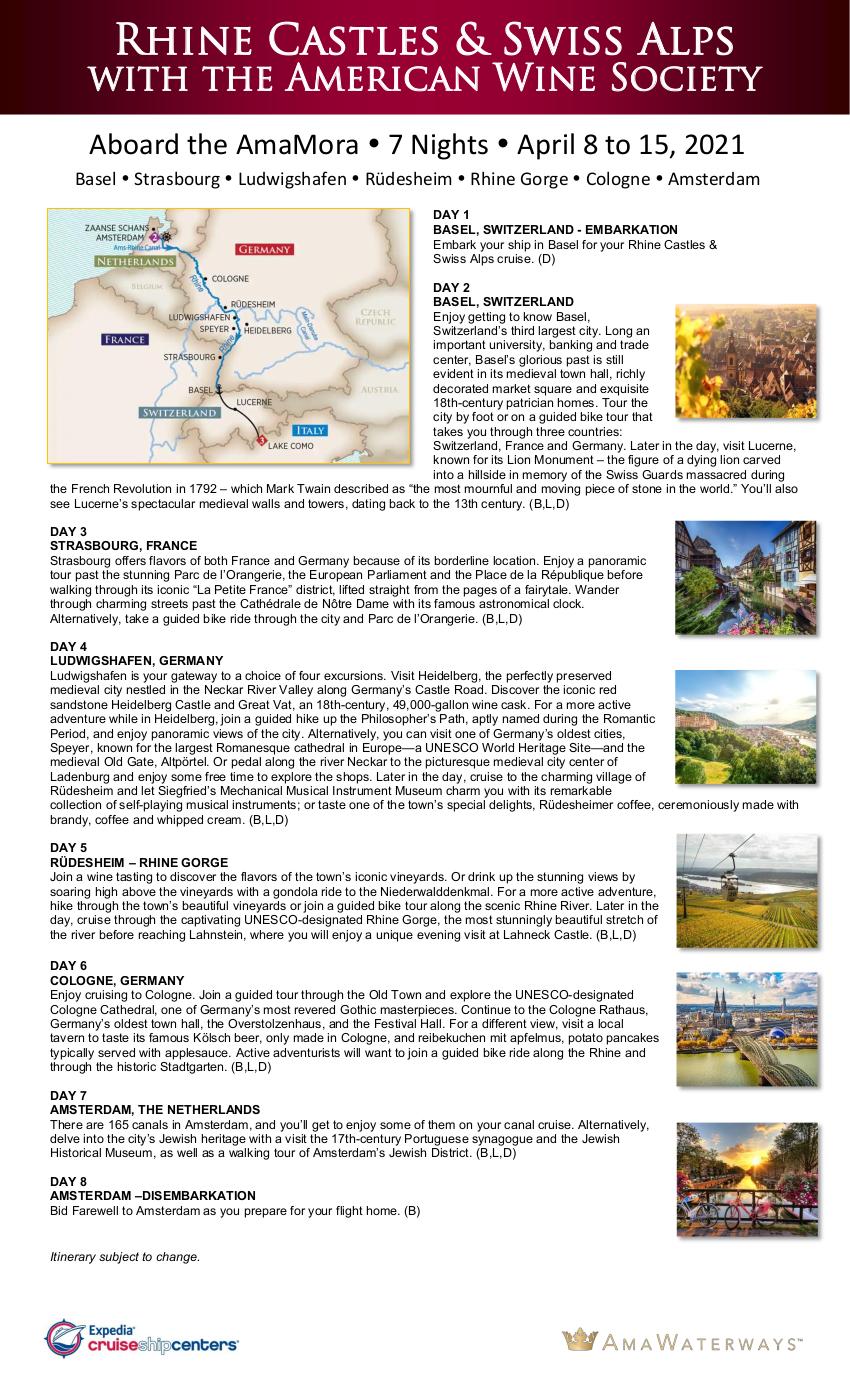 Itinerary - AWS 2021 Rhine