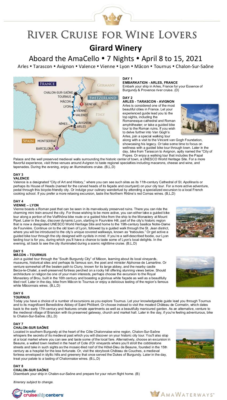 Itinerary - Girard 2021 Rhone