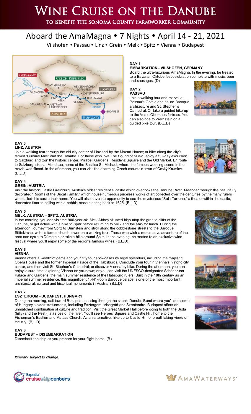 Itinerary - SCGGF 2021 Danube