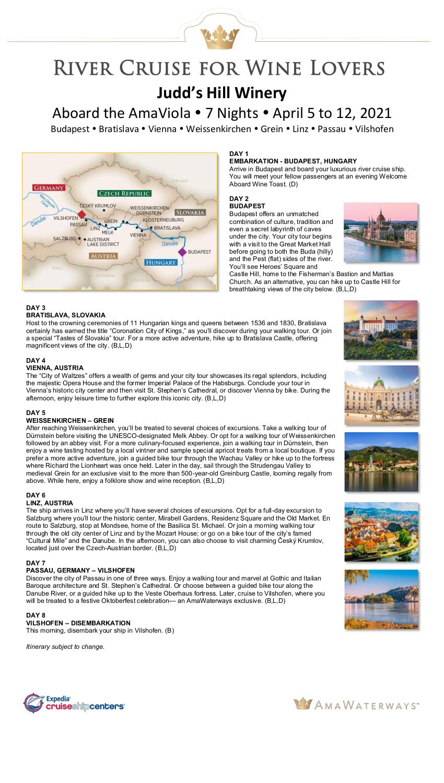 Itinerary - Judd's Hill 2021 Danube