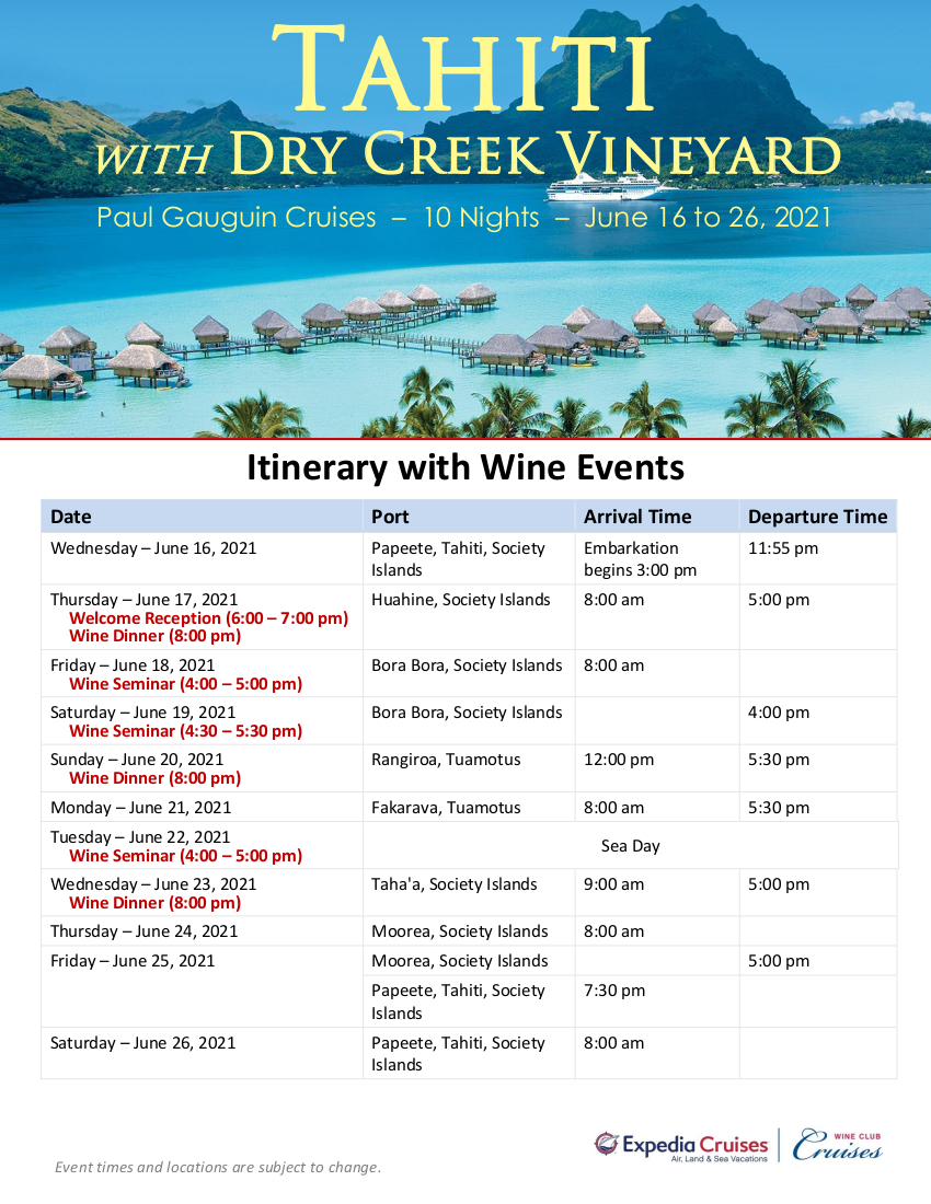 DCV 2021 Tahiti Itinerary with Wine Events