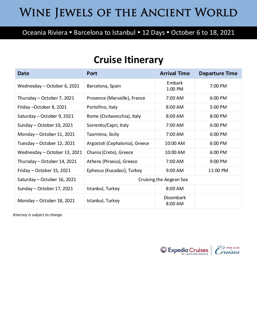 Itinerary - 2021 Oceania Greece and Turkey