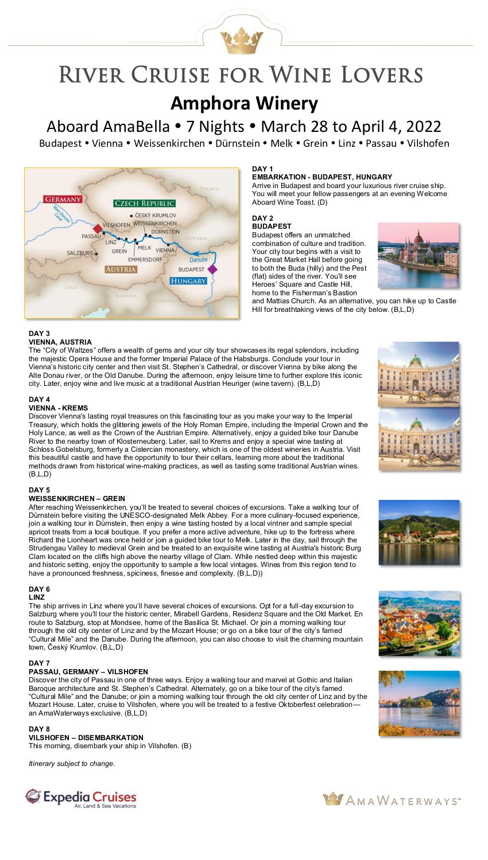 Itinerary - Amphora 2022 Danube