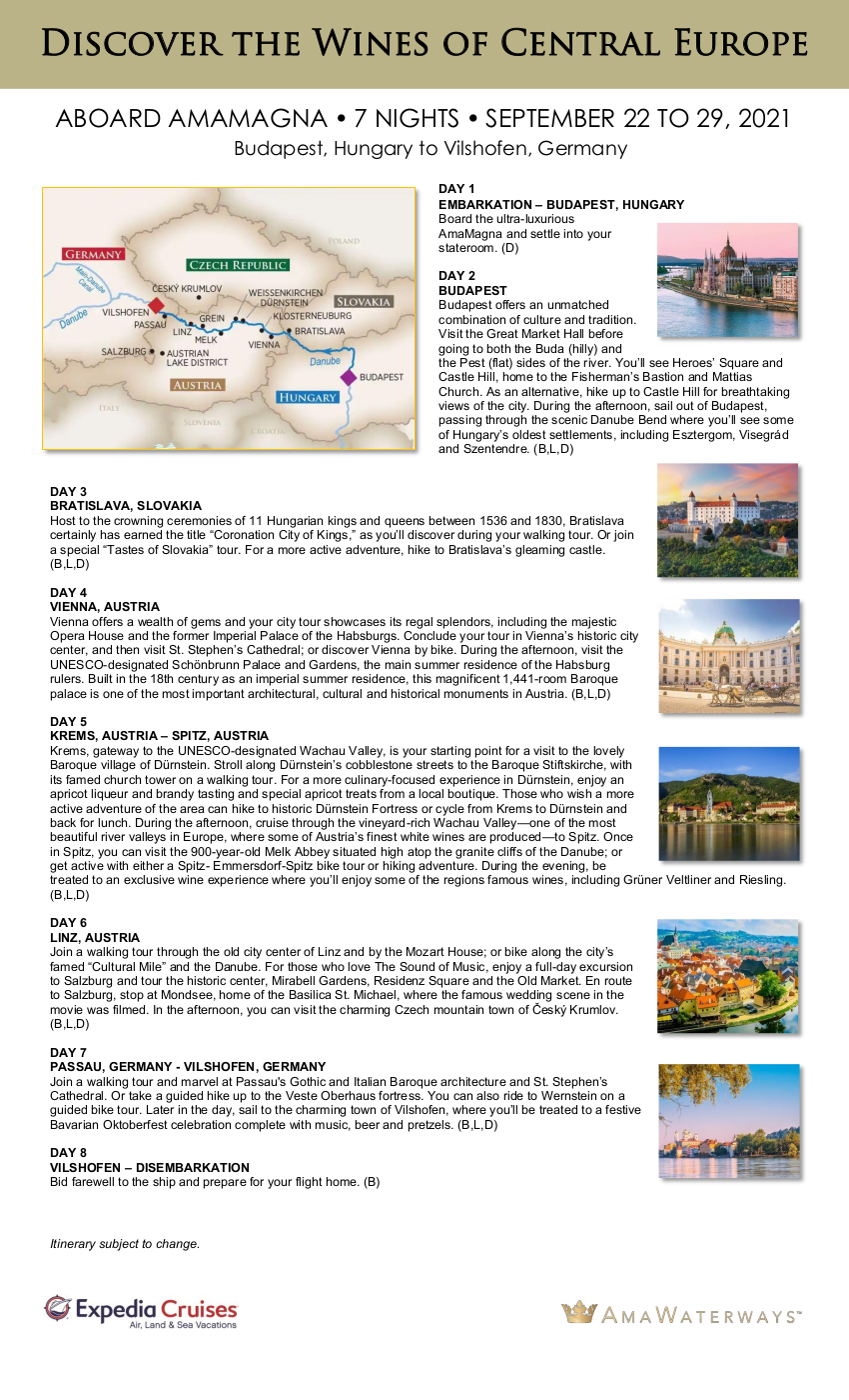 Itinerary - Magna with Paul 2021 Danube