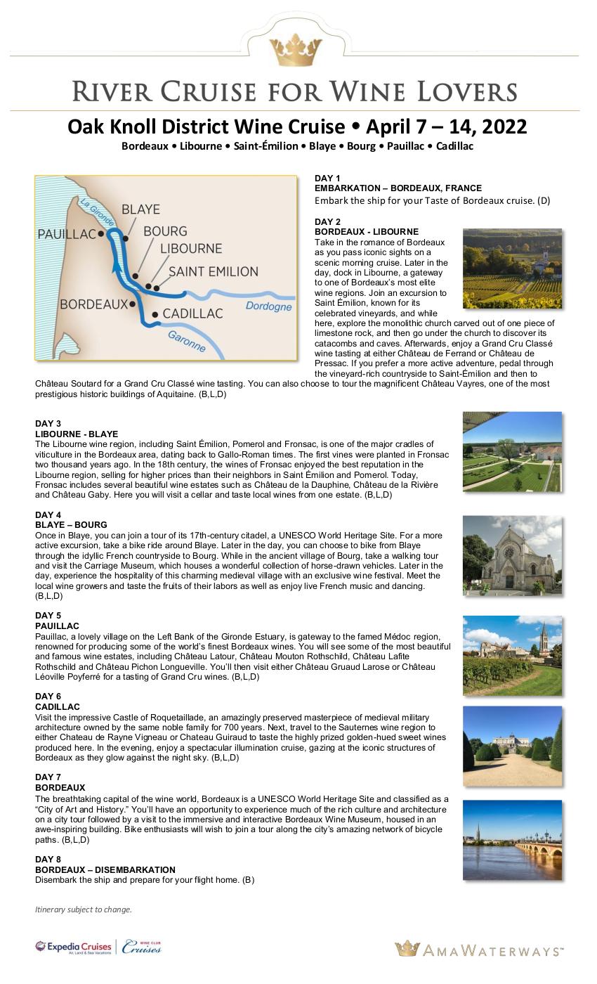 Itinerary - OKD April 2022 Bordeaux