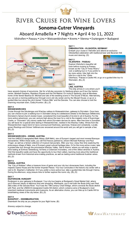 Itinerary - Sonoma-Cutrer 2022 Romantic Danube