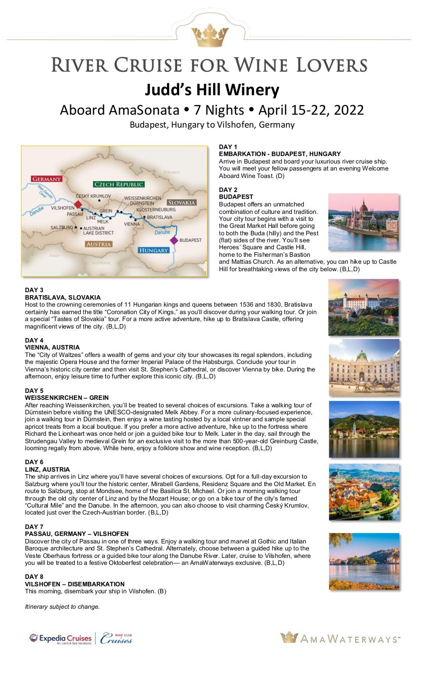 Itinerary - Judd's Hill 2022 Danube