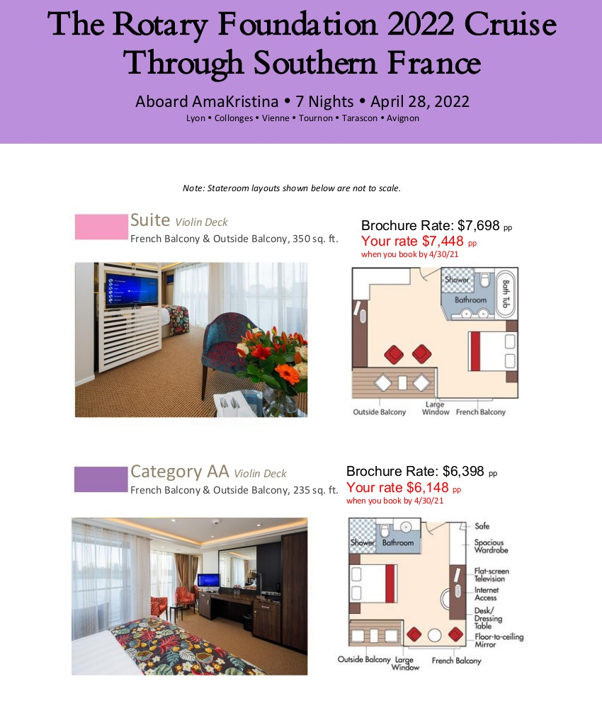 Stateroom Guide - Rotary 2022 France 1