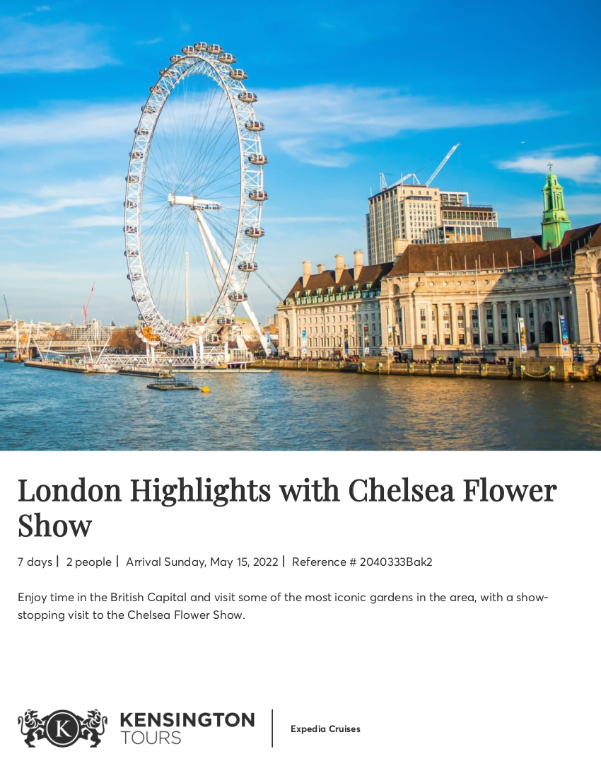 London with Chelsea Flower Show - Sample Itinerary 1