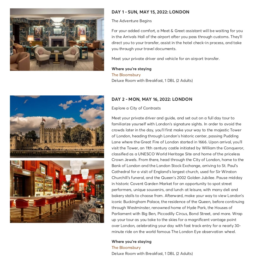 London with Chelsea Flower Show - Sample Itinerary 5