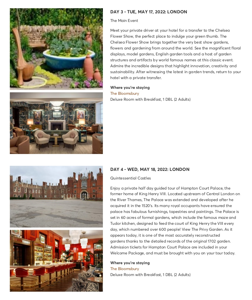 London with Chelsea Flower Show - Sample Itinerary 6