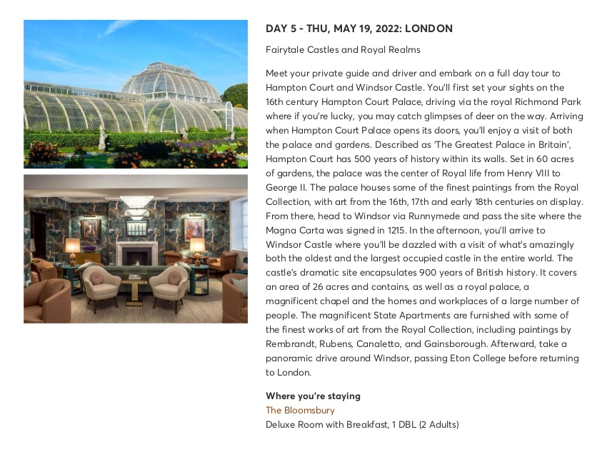 London with Chelsea Flower Show - Sample Itinerary 7