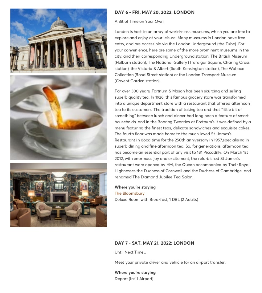 London with Chelsea Flower Show - Sample Itinerary 8