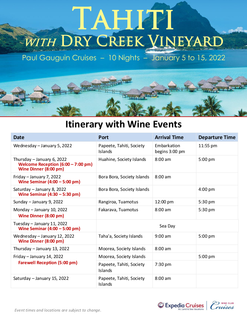 DCV 2022 Tahiti Itinerary with Wine Events