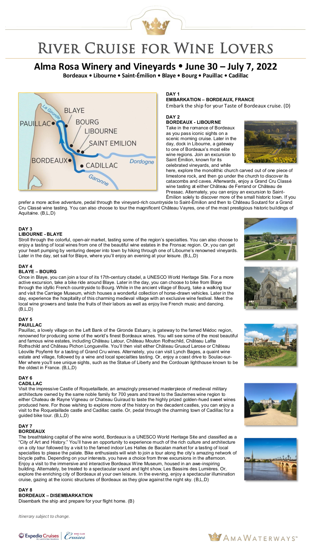 Itinerary - Alma Rosa 2022 Bordeaux