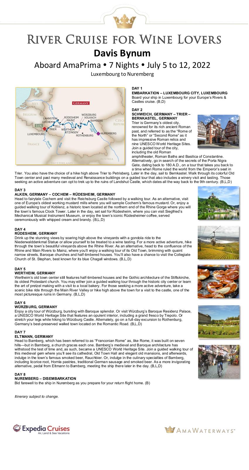 Itinerary - Davis Bynum 2022