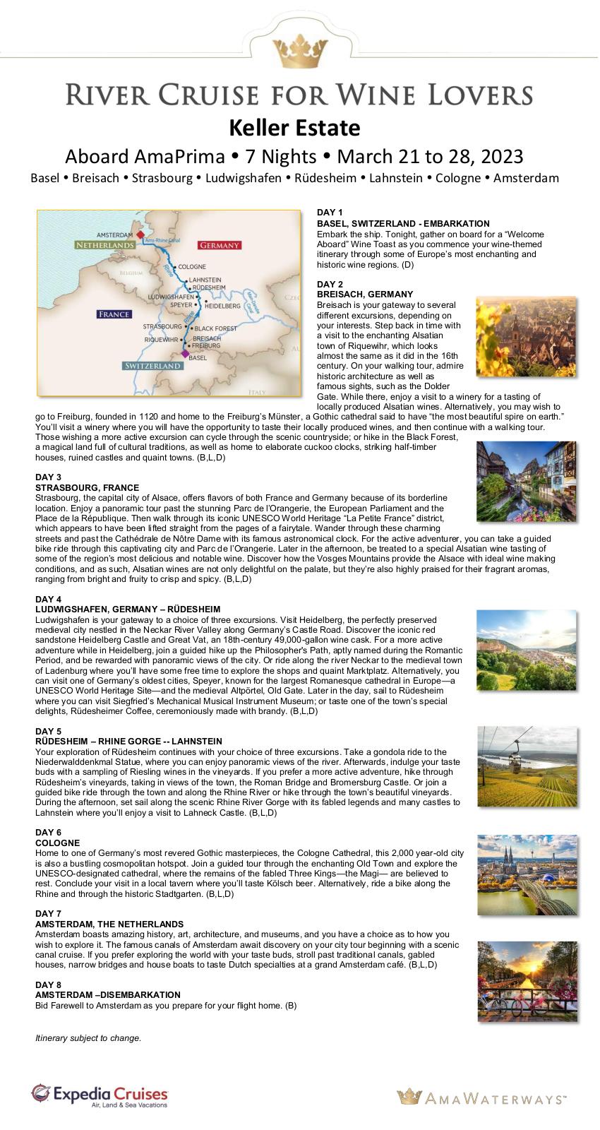 Itinerary - Keller Estate 2023 Rhine
