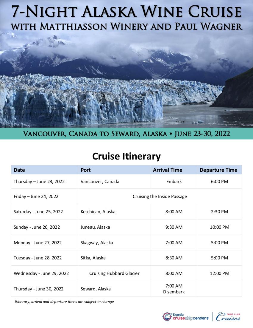 Itinerary - Silversea Alaska 2022