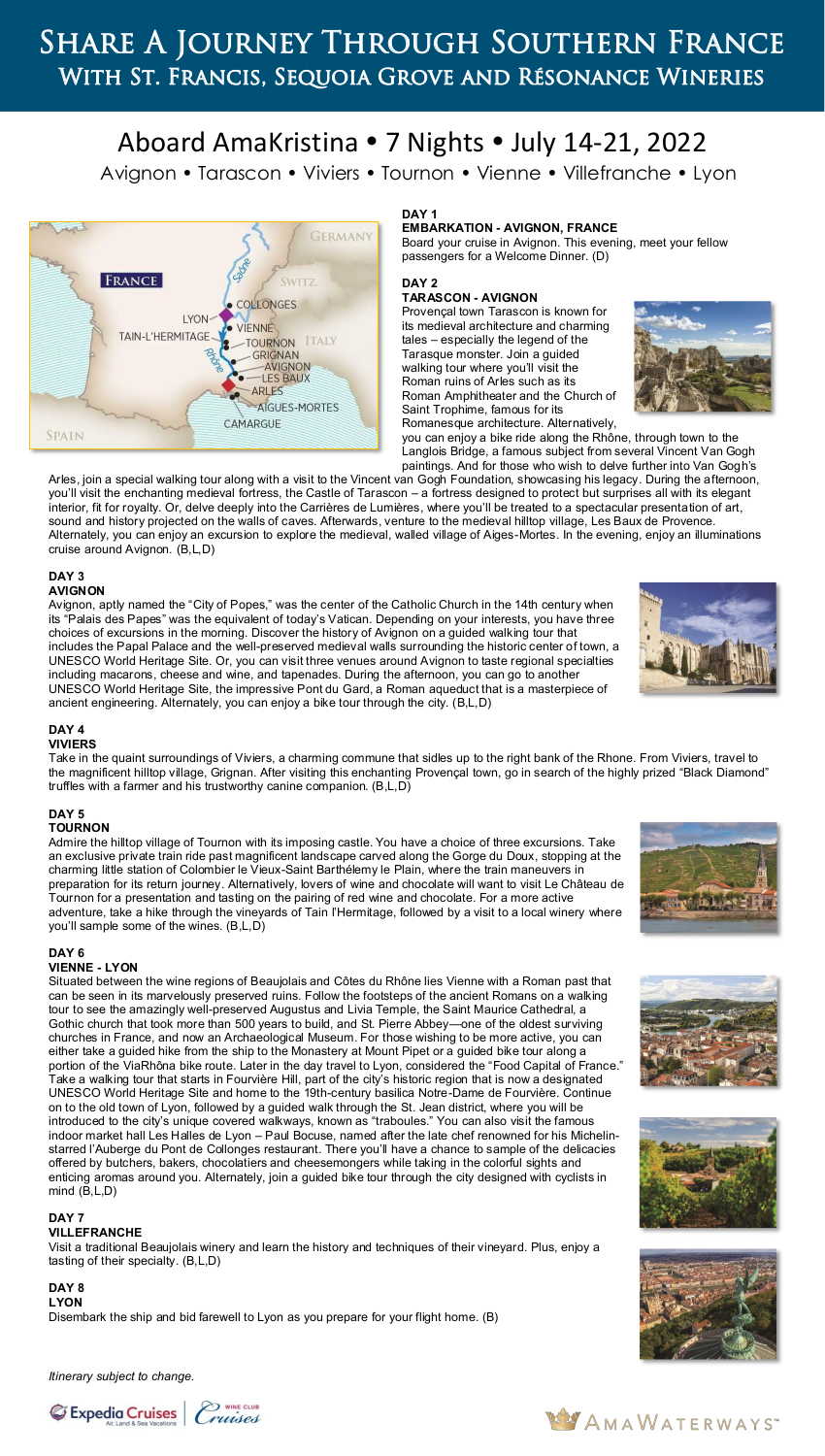 Itinerary - St Francis Wineries 2022 Rhone